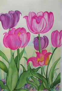 naive watercolor and ink painting of bright pink and mauve tulips with lots of character. By artist Kathy Poitras