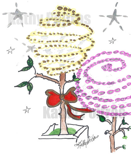 Fun swirly impressions of city trees wrapped in yellow and pink lights. One of the trees has a big red bow.  Christmas card instant digital download.