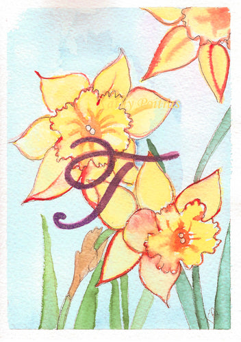Greeting Card, Birthday Card, Mothers Day Card, watercolor and ink. Daffodils are the birth flower of the month for March. This flower of the month card is personalized with a fancy letter T by artist Kathy Poitras