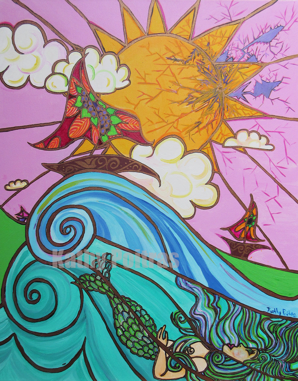 mermaid below huge waves, floral sail boats against a sun. There is a crack in the sun and sky. Has a stained glass look. acrylic painting with heavy gold lines. by artist Kathy Poitras