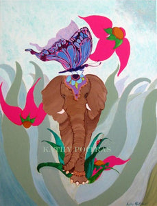 "Signed print of ""Thumper and Me""  an elephant and butterfly by artist Kathy Poitras"