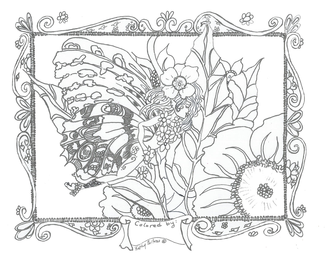 Print your own, color your own Tiiny and the wild rose. A fairy and a rose