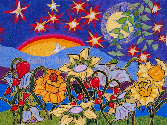 print of needle art yellow and red flowers in twilight with starry sky