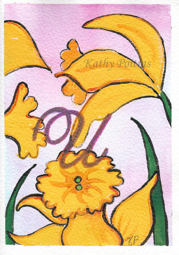Greeting Card, Birthday Card, Mothers Day Card, watercolor and ink. Daffodils are the birth flower of the month for March. This flower of the month card is personalized with a fancy letter U by artist Kathy Poitras