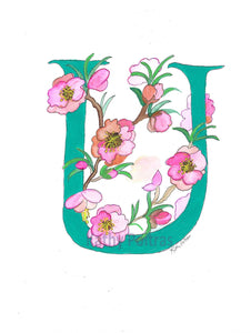 Personalized Greeting Card, Birthday Card, Illustrated Letter U for Ume flowers