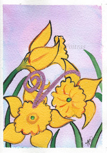 Greeting Card, Birthday Card, Mothers Day Card, acrylic and watercolor.  Daffodils are the birth flower of the month for March. This flower of the month card is personalized with a fancy letter V by artist Kathy Poitras