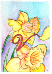 Greeting Card, Birthday Card, Mothers Day Card, watercolor and ink. Daffodils are the birth flower of the month for March. This flower of the month card is personalized with a fancy letter V by artist Kathy Poitras