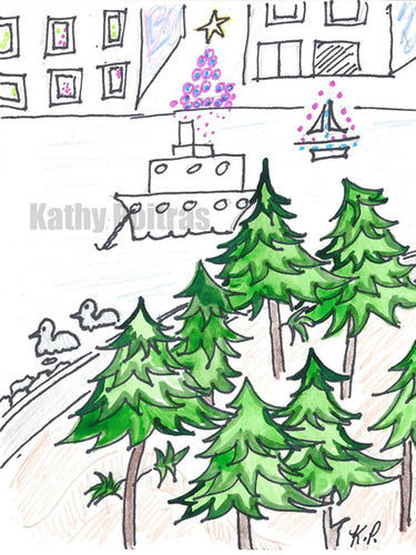 Christmas card instant digital download of a whimsical view of  Vancouver from North Vancouver Sea Wall.  Tall trees in the foreground,  2 ducks in the water, a ship anchored in the harbor, a  lit sail boat and Christmas tree across the water.