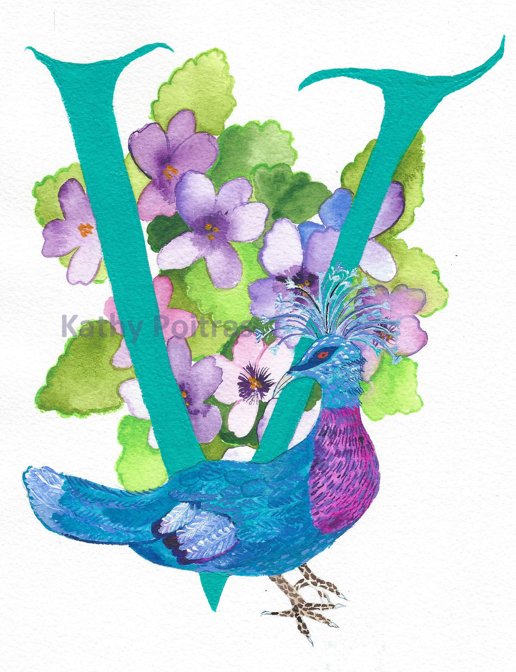 Letter V for Victorian Pigeon and Violets, by artist Kathy Poitras.