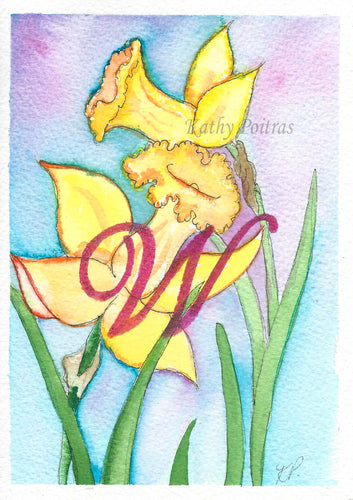 Greeting Card, Birthday Card, Mothers Day Card, watercolor and ink.  Daffodils are the birth flower of the month for March. This flower of the month card is personalized with a fancy letter W by artist Kathy Poitras