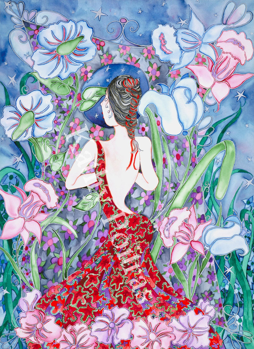 ine art print of a whimsical lady standing in from of fantasy flowers.  She is wearing a beautiful low back burgundy patterned dress.