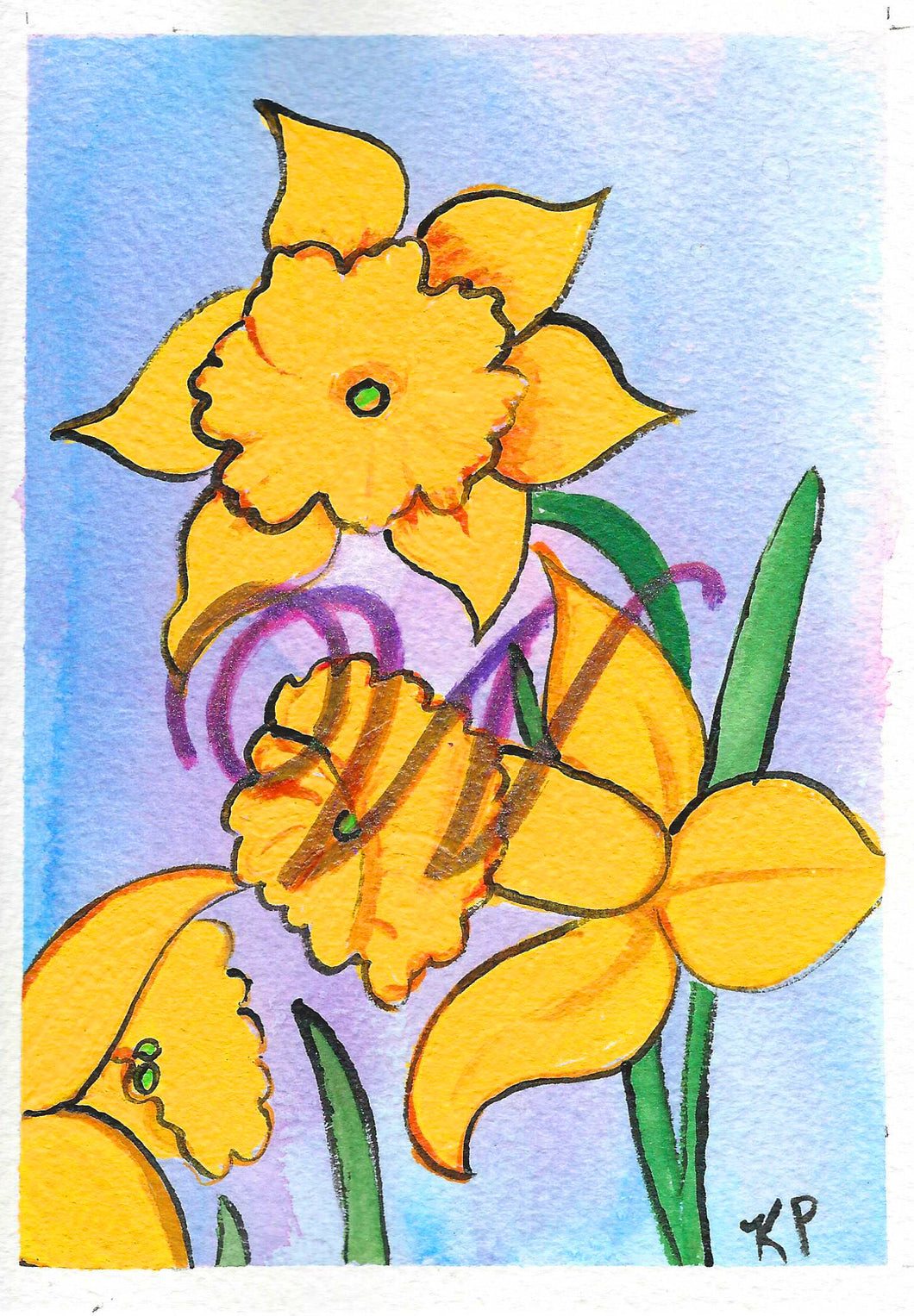 Birthday Card, Mother's Day Card,  Daffodils with Letter W acrylic