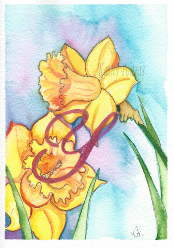 Birthday Card, Mother's Day Card, Art Card,  Daffodils with Letter Y