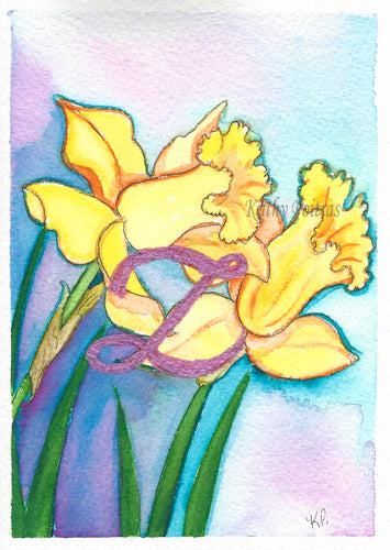 Birthday Card, Mother's Day Card, Daffodils with Letter Z