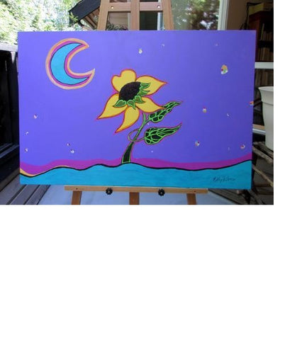 Painting on an easel of an acrylic painting on gallery canvas of abstract expressionist sunflower dancing on water against a purple sky,  with confetti stars and crescent aqua moon by Canadian  artist Kathy Poitras