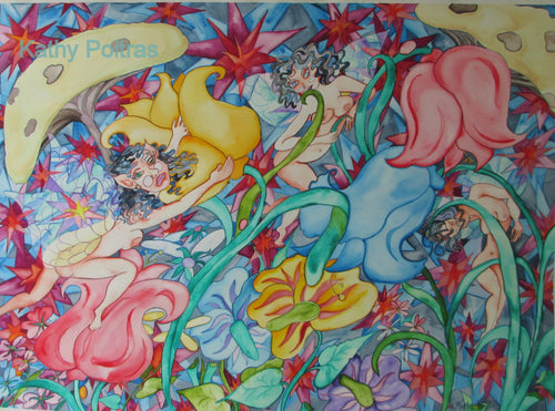 Fairies having a wild party among the flowers. On 22 x 30 inch rag paper.   by Canadian artist, Kathy Poitras.  An early work.