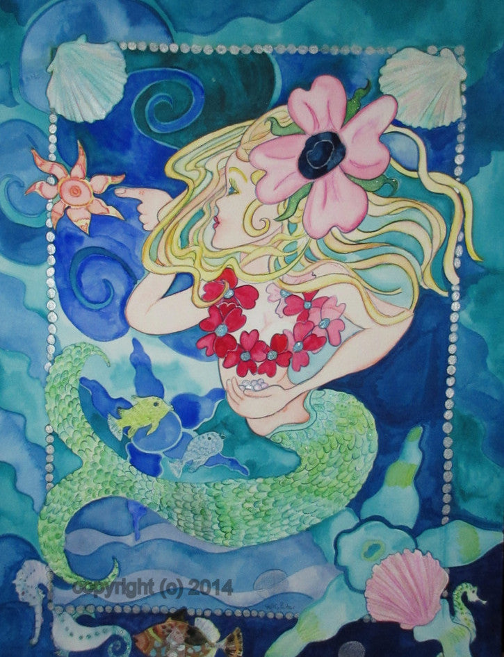 Naïve fantasy watercolor and ink painting of a curious mermaid child investigating a starfish.   Nursery art, naïve folk art  style by artist  Kathy Poitras.  18 x 24 inches  watercolor and ink on arches 140 pound fine tooth rag paper.