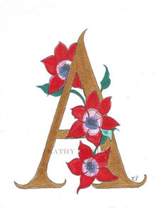 Illustrated letter A is for Anemones. Wall art, nursery art.  by artist Kathy Poitras