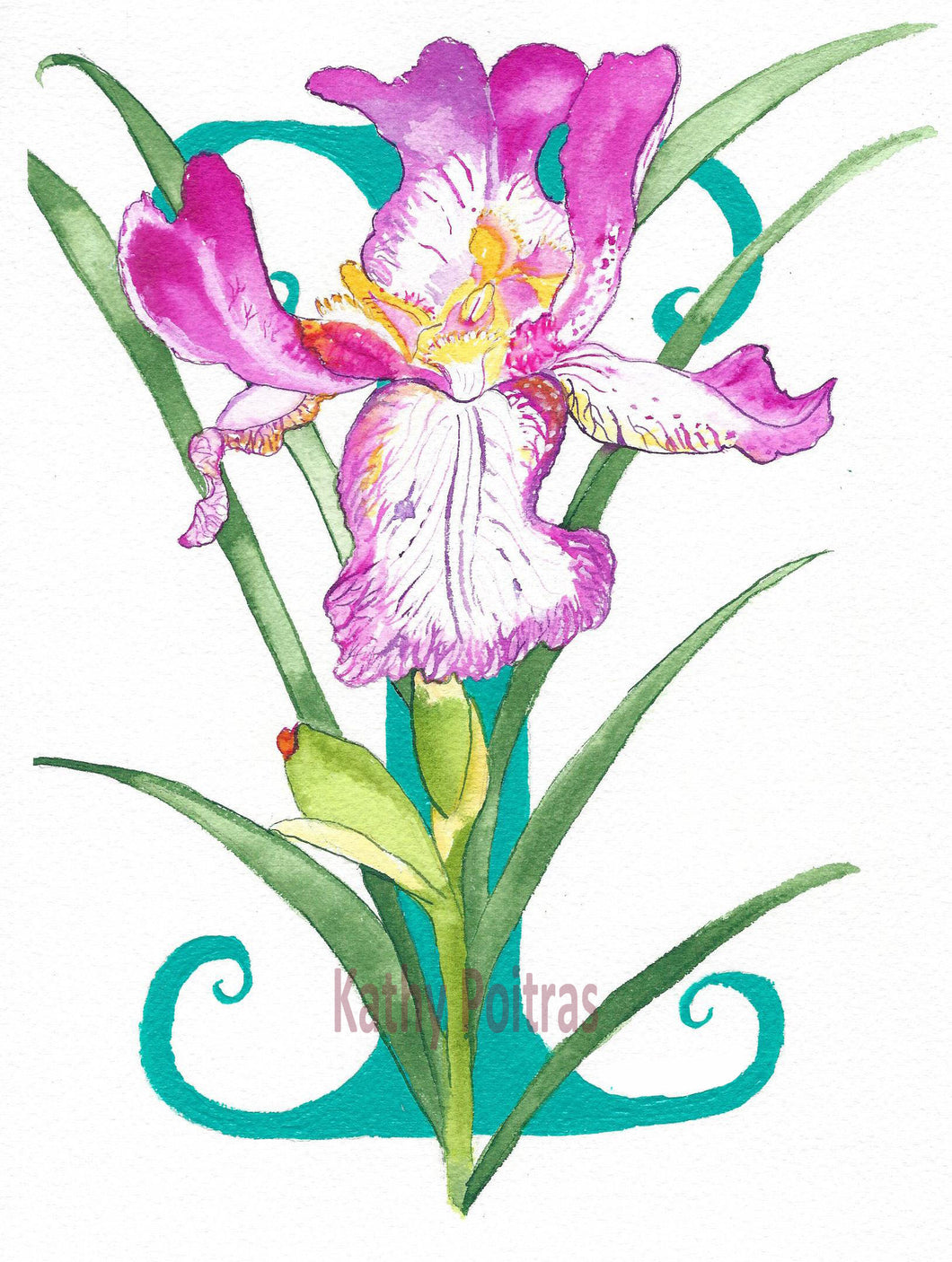 Illustrated letter Wall art, nursery art. Letter I is for Iris flower.  by artist Kathy Poitras