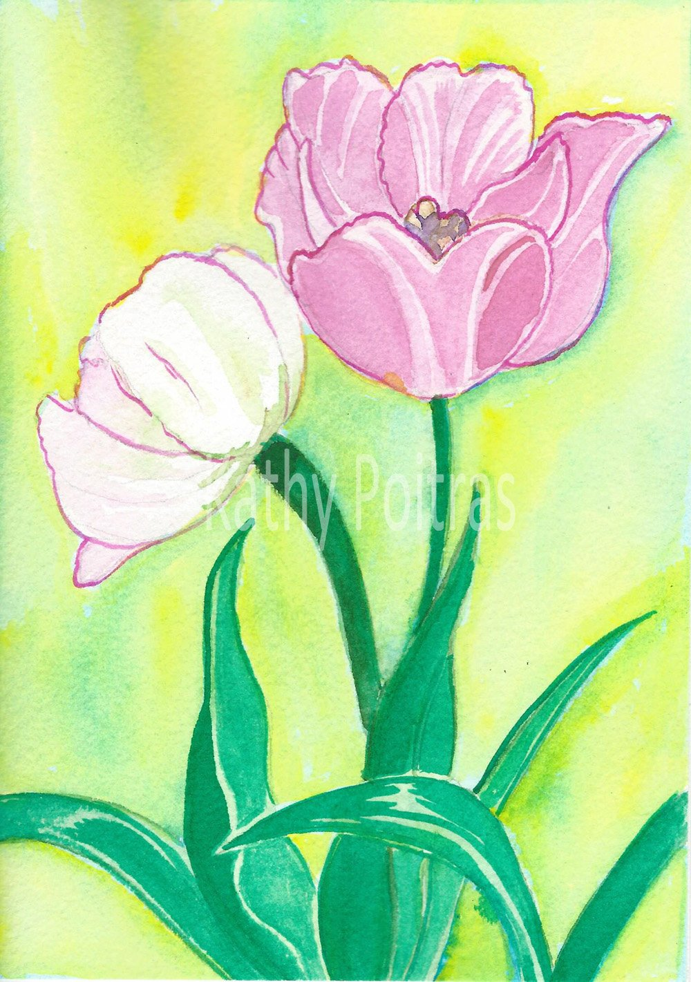 two pink watercolor and ink tulips, one facing forward, one facing backward. More realistic than Kathy Poitras' usual flower paintings