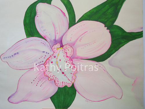Orchid Blossom watercolor painting