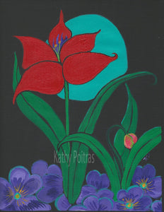 red tulip, and tulip bud,  against a black sky with a blue moon, and pansies at the bottom. Painting in black canvas paper by artist Kathy Poitras