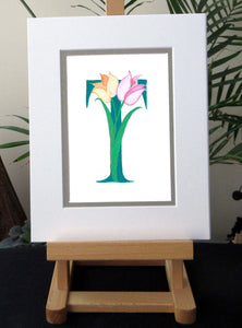Letter T is for Tulips.  Wall art. Nursery Art.
