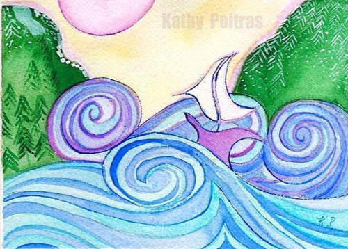 Waves and mountains, small ready to frame watercolor painting,