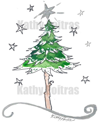 whimsical snow dusted tree with silver star