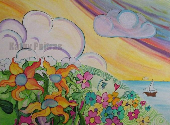 wall art of a floral goddess emerging from a hill viewing the puffy clouds and boat in the harbor. Inspired by a ferry ride across the water in Vancouver Harbor on a cold sunny winter day