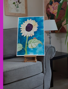 One Sunflower and Ladybug nursery painting