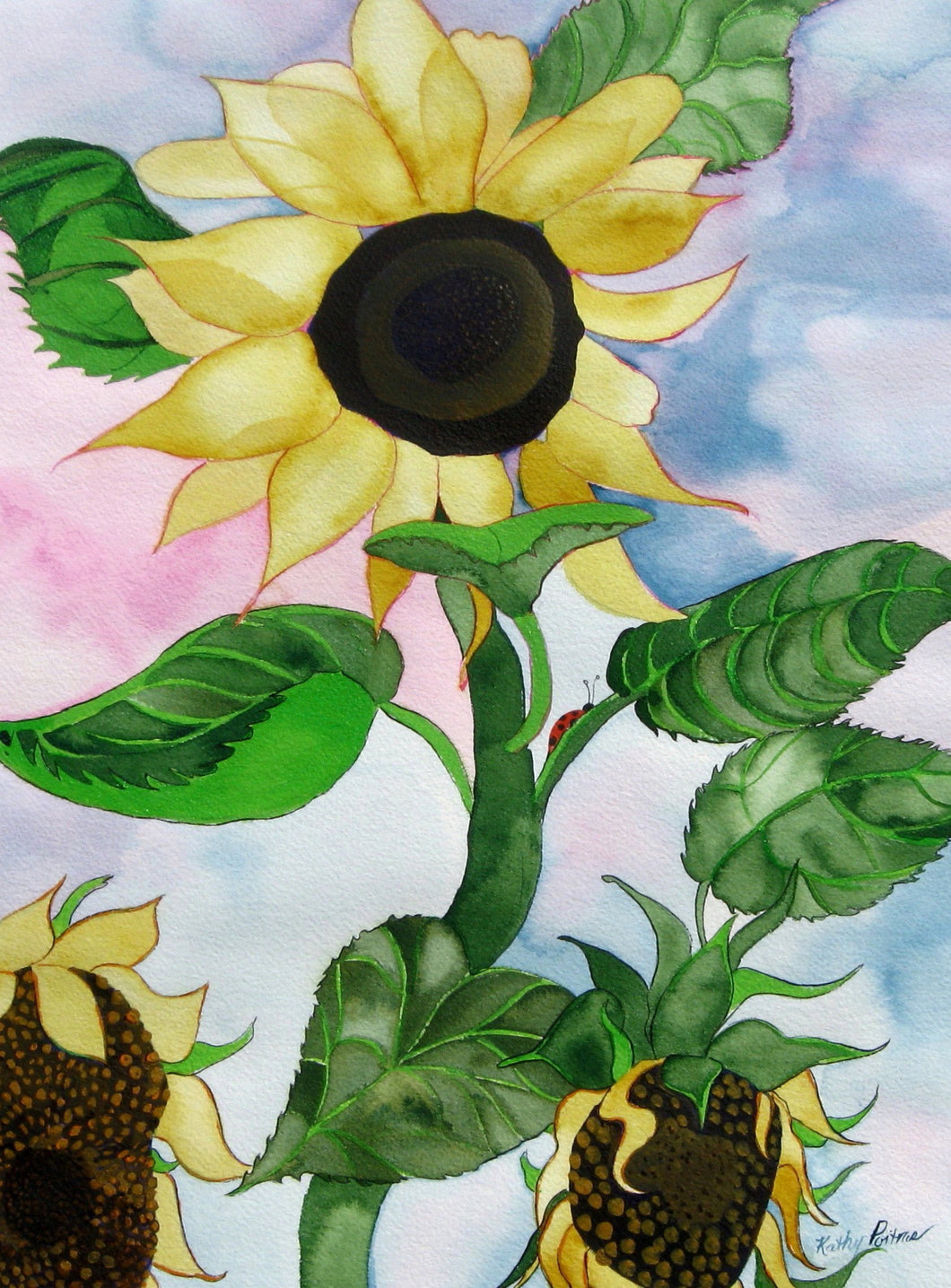 wall art print sunflower watercolor painting with 3 naïve folk art sunflowers and a ladybug