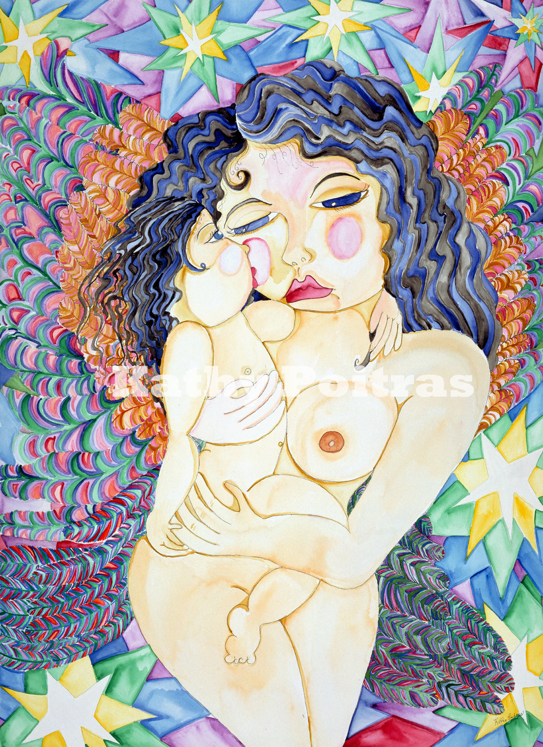 Warrior Mother  watercolor and ink by artist Kathy Poitras.