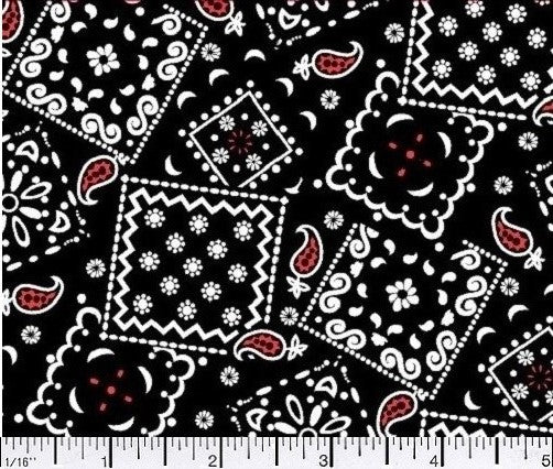 Blazin Bandana Black Red Cotton Fabric BTY