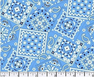 Blazin Bandana Turquoise Blue Cotton Fabric BTY