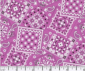Blazin Bandana Flamingo Pink Cotton Fabric BTY