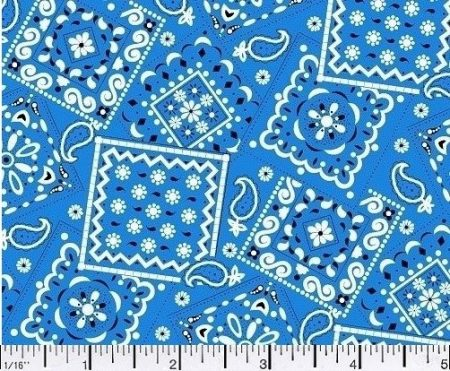 Blazin Bandana Royal Blue Cotton Fabric BTY