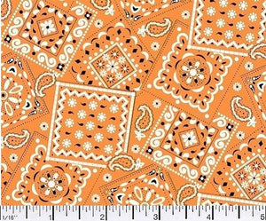 Blazin Bandana Orange Cotton Fabric BTY