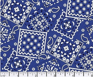 Blazin Bandana Navy Blue Cotton Fabric BTY