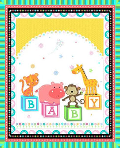 Animal Baby Blocks Quilt Top Panel 02