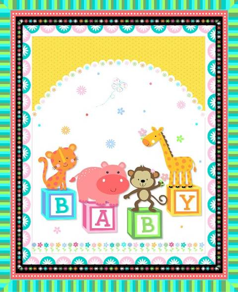 Animal Baby Blocks Pre-quilted Panel 02