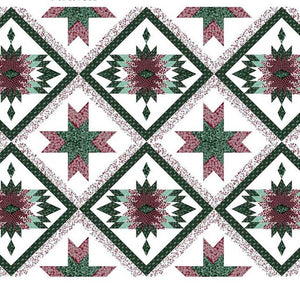 "Bear Claw Burgundy 90"" Cheater Quilt Top Print 98 BTY"