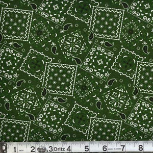 Blazin Bandana Forest Green Cotton Fabric BTY