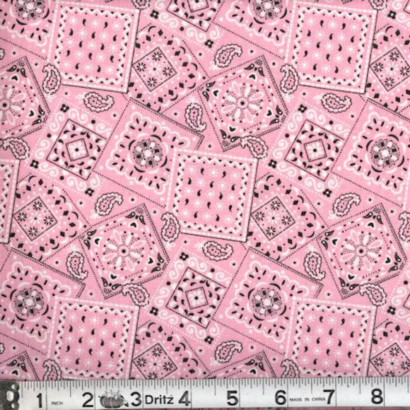 Blazin Bandana Light Pink Cotton Fabric BTY