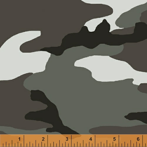 Grey Camo Cotton Fabric by Whistler Studio BTY
