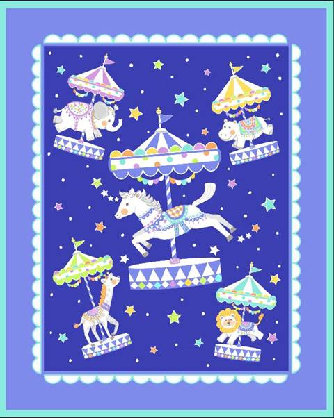 Carousel Animals Quilt Top Panel 04