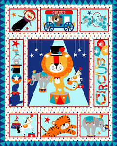 Circus Animals Quilt Top Panel 05