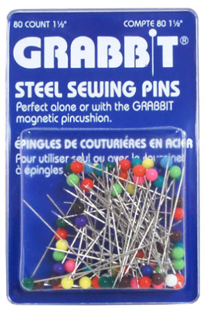 Grabb-IT Steel Sewing Pins 80 Ct 1 1/2
