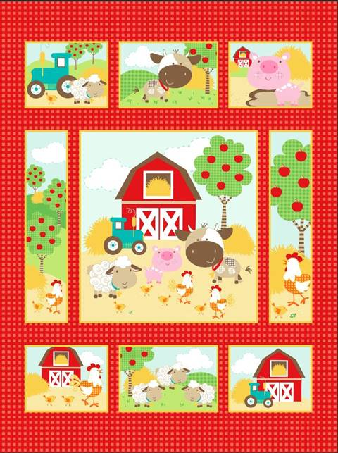 Farm Animals Quilt Top Panel 07 Quilting Fabric Supplier