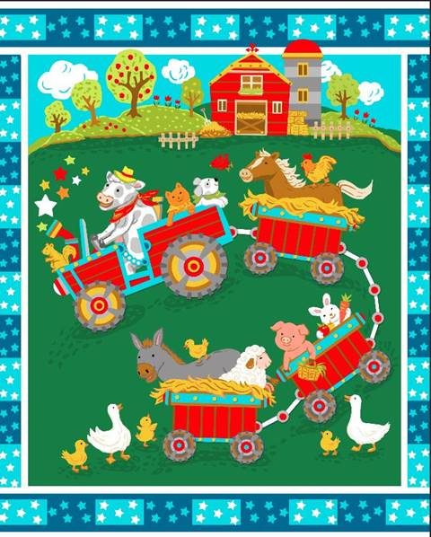 Farm Animal Tractor Train Quilt Top Panel 15 Quilting